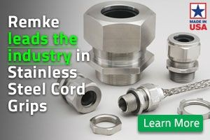 Remke is the industry leader in Stainless Steel Cord Grips - click here to see our entire lineup of stainless steel cord grips.