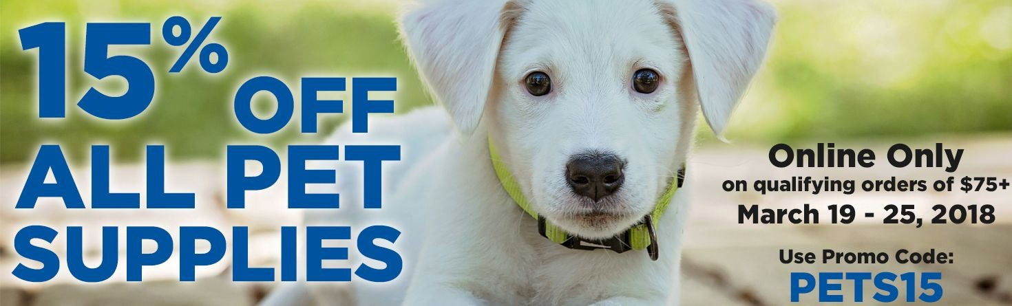 15% Off All Pet Supplies