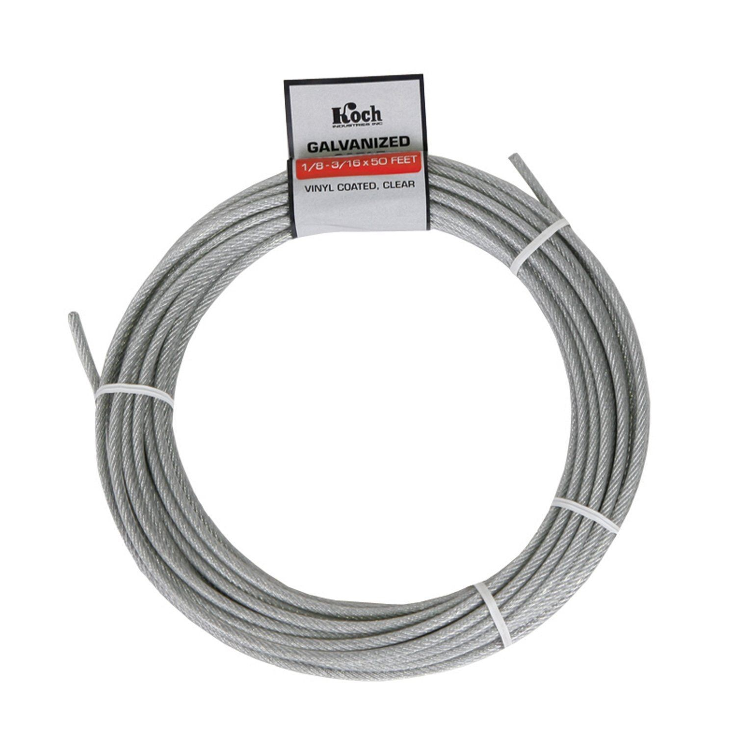 7 x 7 Pre-Cut Vinyl Coated Galvanized Wire Rope Cable 1/8-3/16 Inch ...
