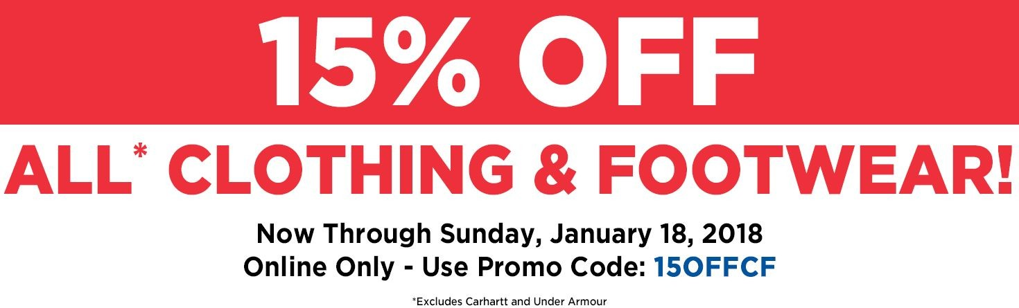 15% Off Clothing & Footwear