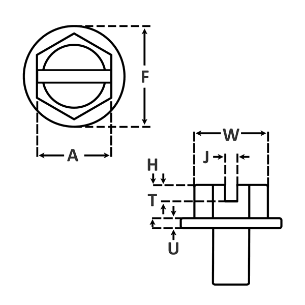 Type A Threads for Self Tapping Screws dimensions