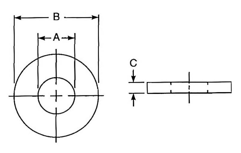 USS Flat Washer dimensions