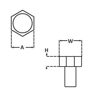 Hex Trim Head for Machine Screws dimensions