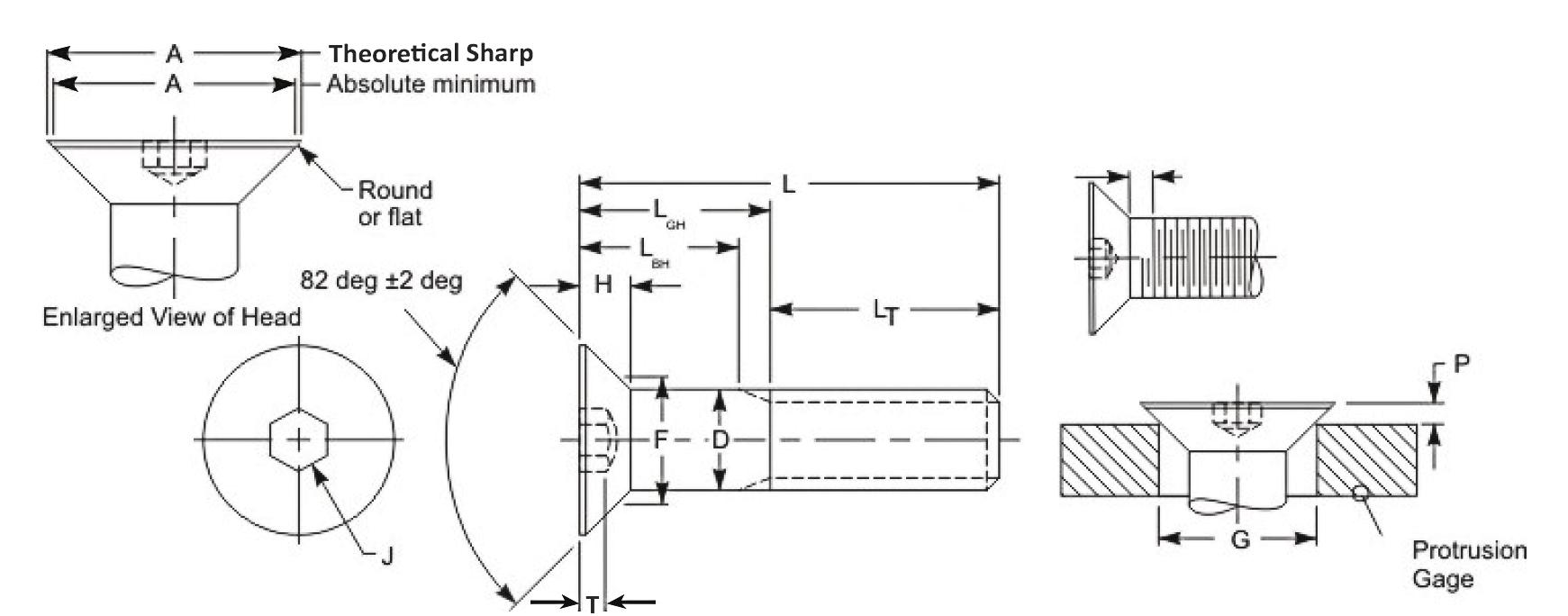 Alloy Steel Flat Socket cap screw dimensions