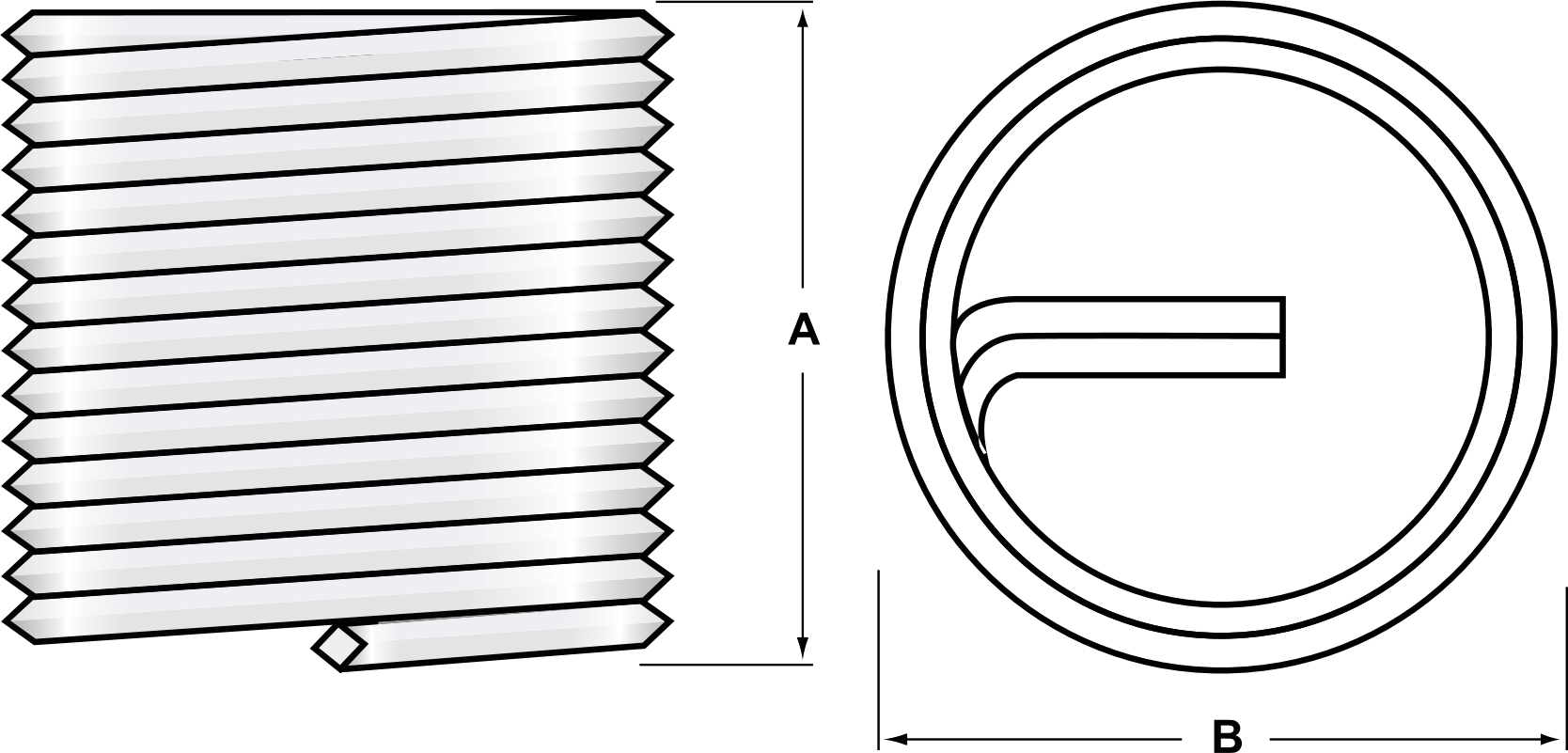Coil Thread Inserts for Metal dimensions