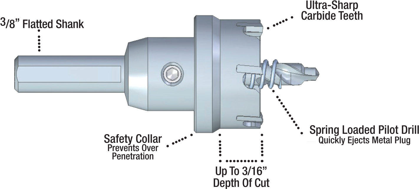 "Carbide Tipped Hole Cutter - 3/16"" Depth dimensions"