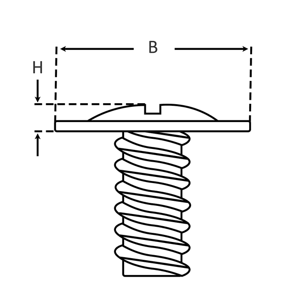 Modified Truss Head for Self-Tapping Screws dimensions