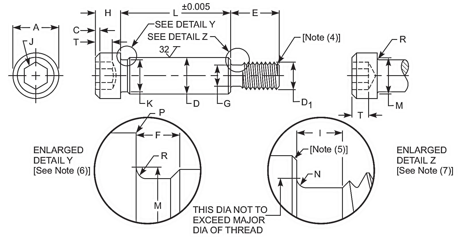 Socket shoulder bolt dimensions
