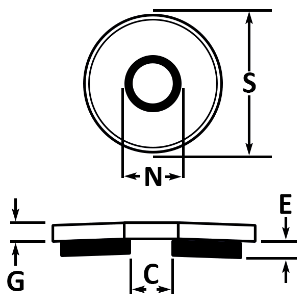 Neo-EPDM Washers Used With Self Drilling Screws dimensions
