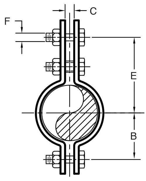 Figure 295 Three Bolt Pipe Clamp
