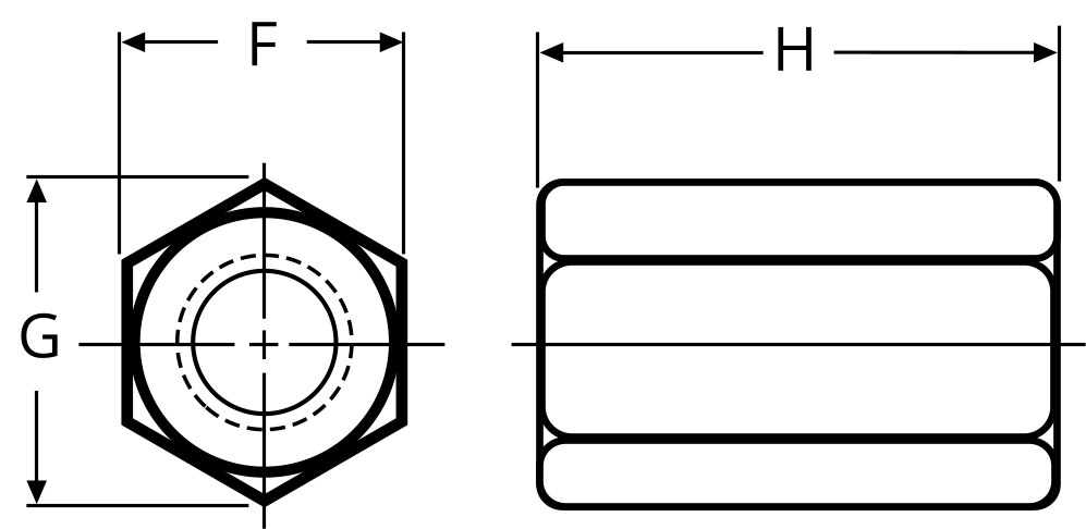 Hex coupling nut dimensions