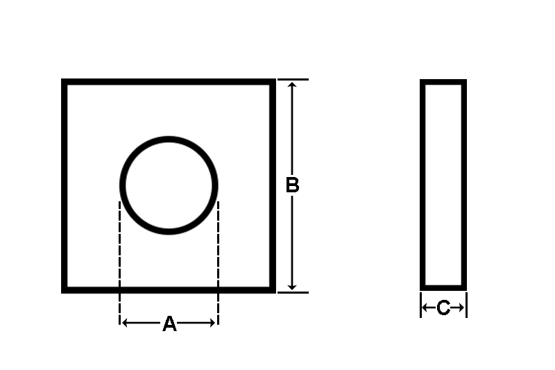 Square flat washer dimensions