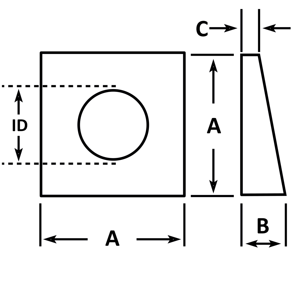Malleable Iron Bevel Washer dimensions