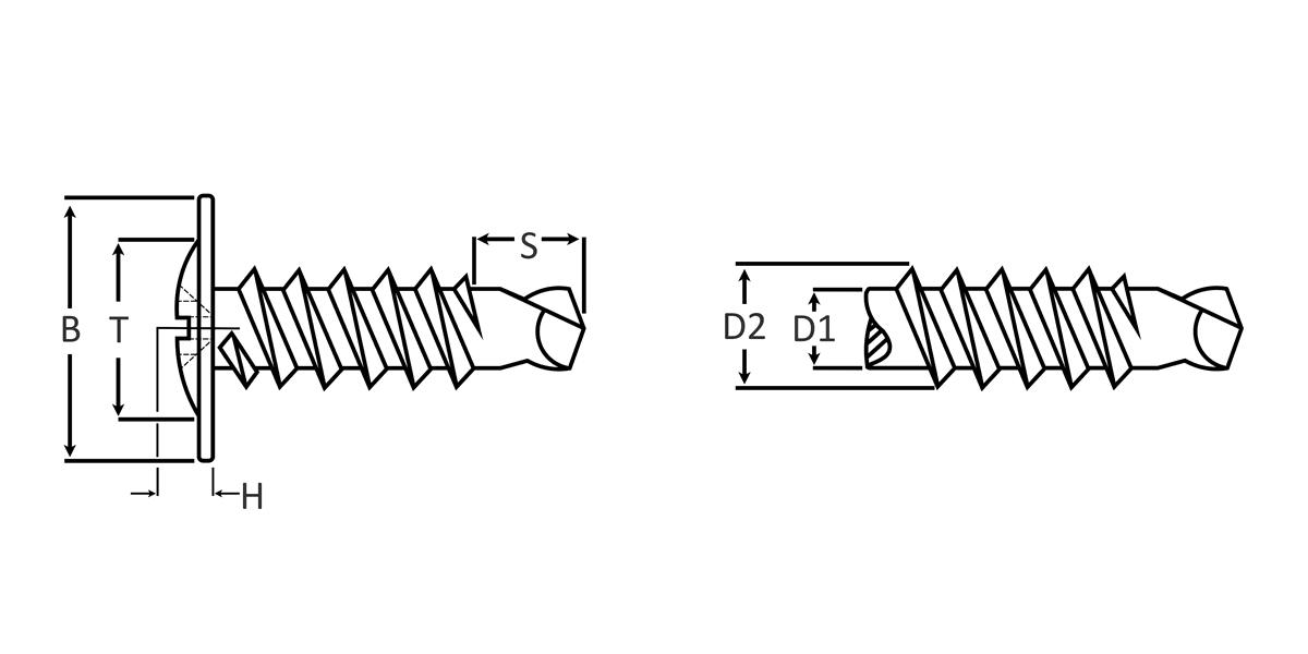Phillips Modified Truss Head Self Drilling Screw dimensions