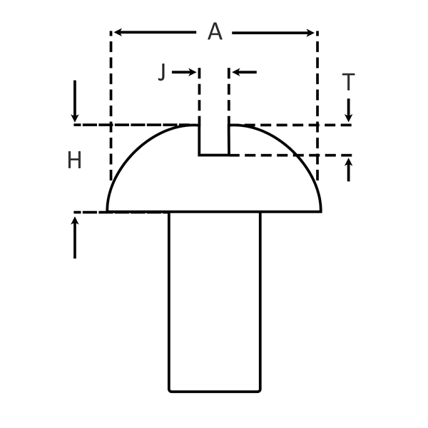 Slotted Round Head for Machine Screws dimensions