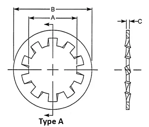 Split Lock Washer dimensions