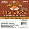 10 Pack Bacon & Cheddar Loaded Pig Ears Chews for dogs