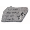 """Cats Leave Paw Prints…"" Memorial Stone With Paw Prints"