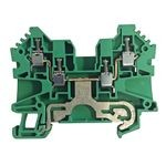 1492-J IEC Terminal Block, One-Circuit Feed-Through Ground Block, 6 mm (# 22 AWG - # 10 AWG), Standard Feedthrough, Green / Yellow Stripe (Standard),