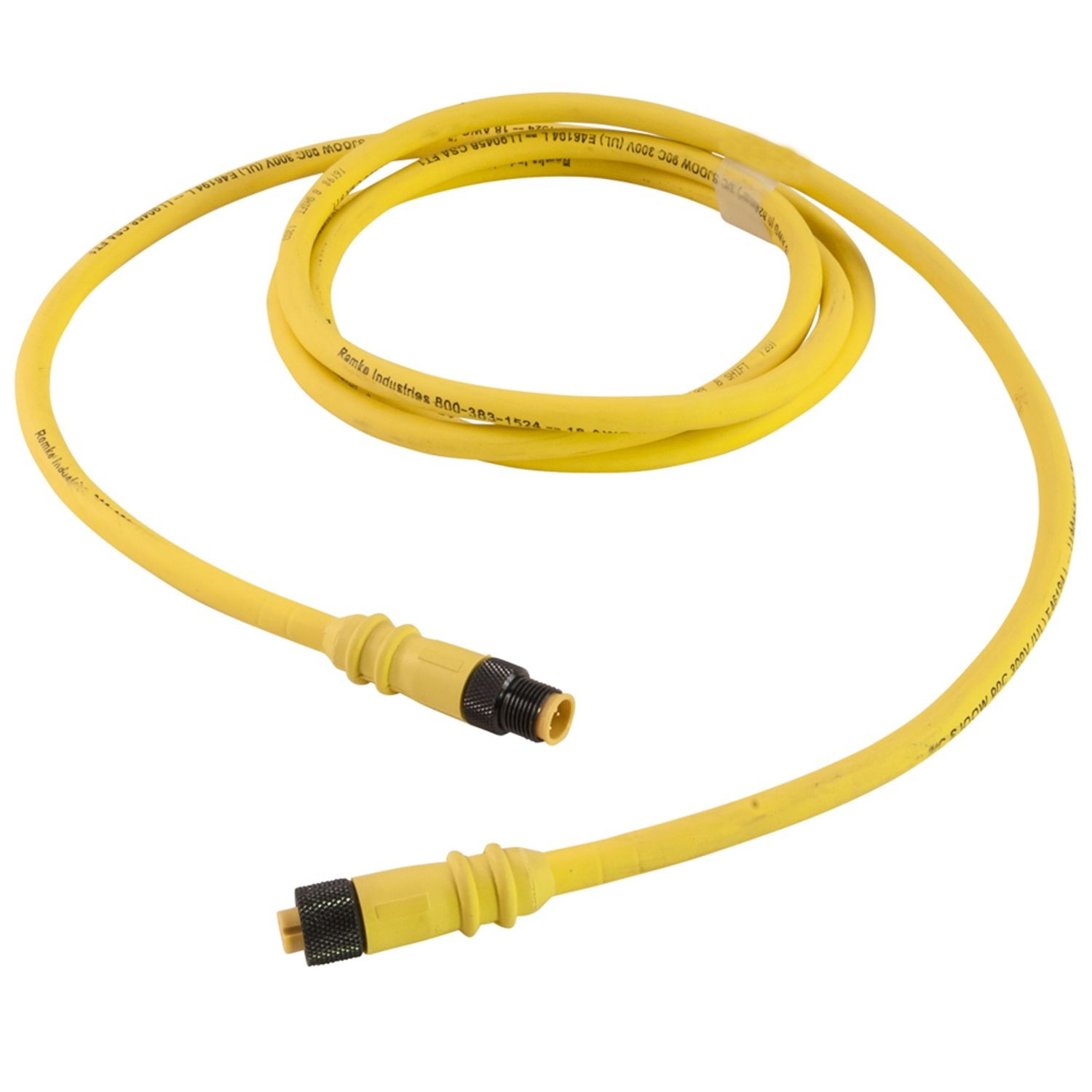 Single Key (M12) Rubber Micro-Link Cable Assembly, Male/Female, 3 ...