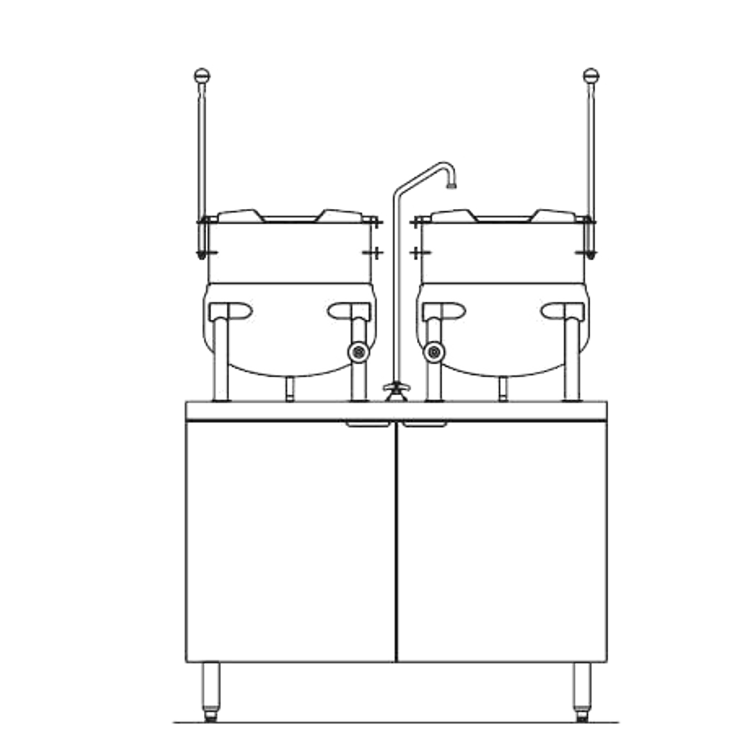 "Blodgett CB42E-10-10K Kettle/Stand Assembly, Electric, 42"" wide, (2) 10  gallon kettles, stainless steel exterior"