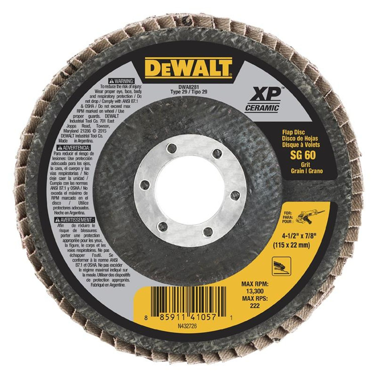 "DeWalt 4-1/2"" Ceramic Flap Disc 60 Grit"