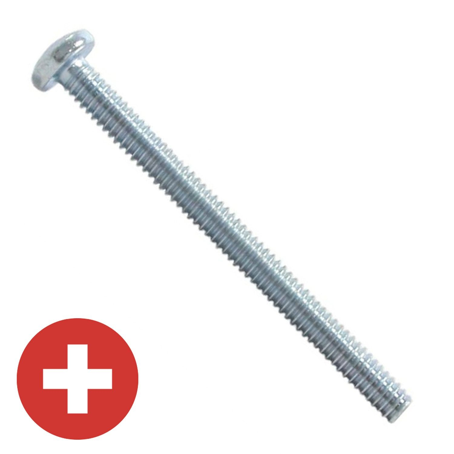 "#10-24 x 1-1/4"" Zinc Plated Phillips Pan Head Machine Screw"