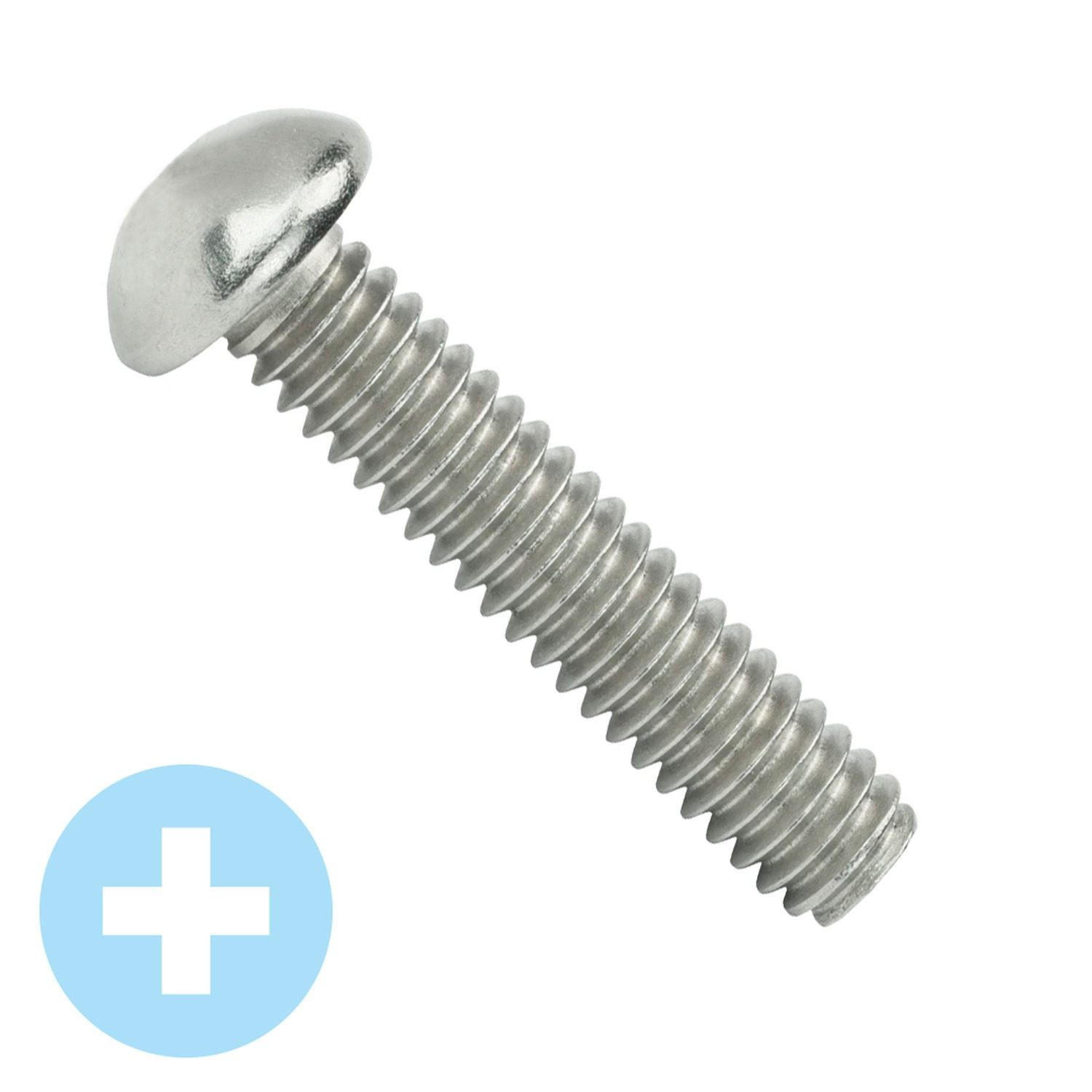 "#10-32 x 1"" Stainless Steel Phillips Round Head Machine Screw 18-8"