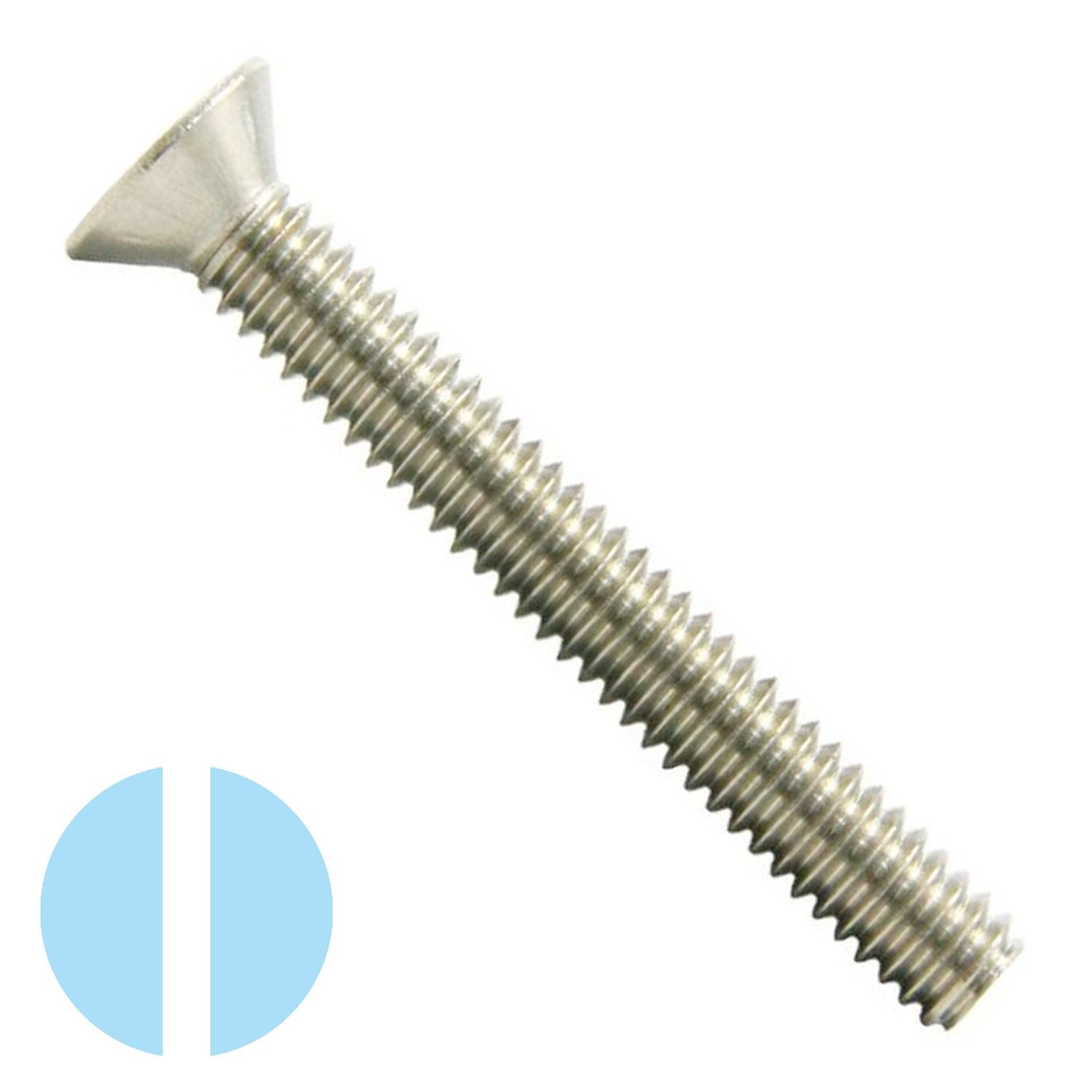"#10-24 x 1-1/2"" Stainless Steel Slotted Flat Head Machine Screw 18-8"