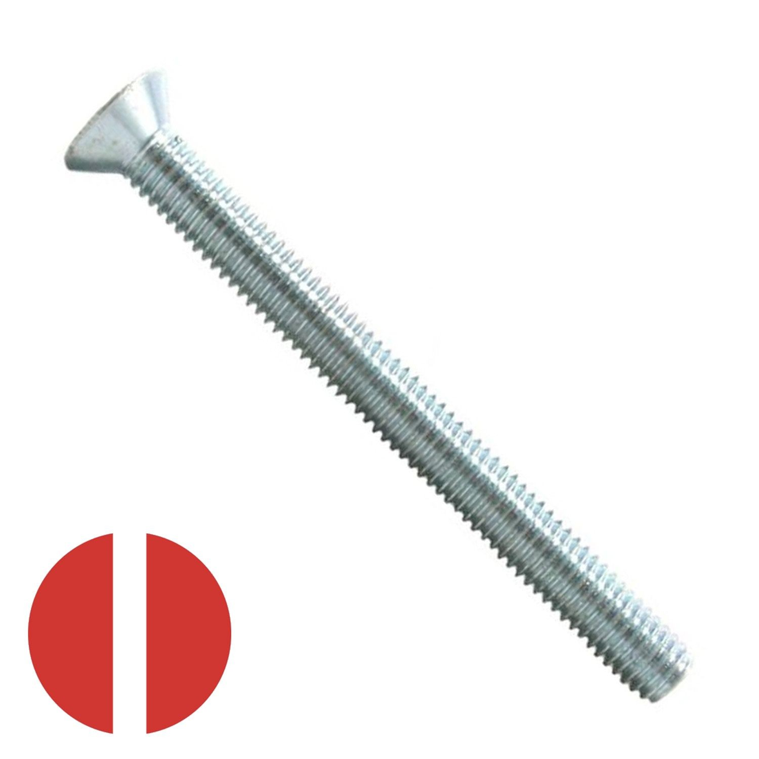 "#10-24 x 3-1/2"" Zinc Plated Slotted Flat Head Machine Screw"