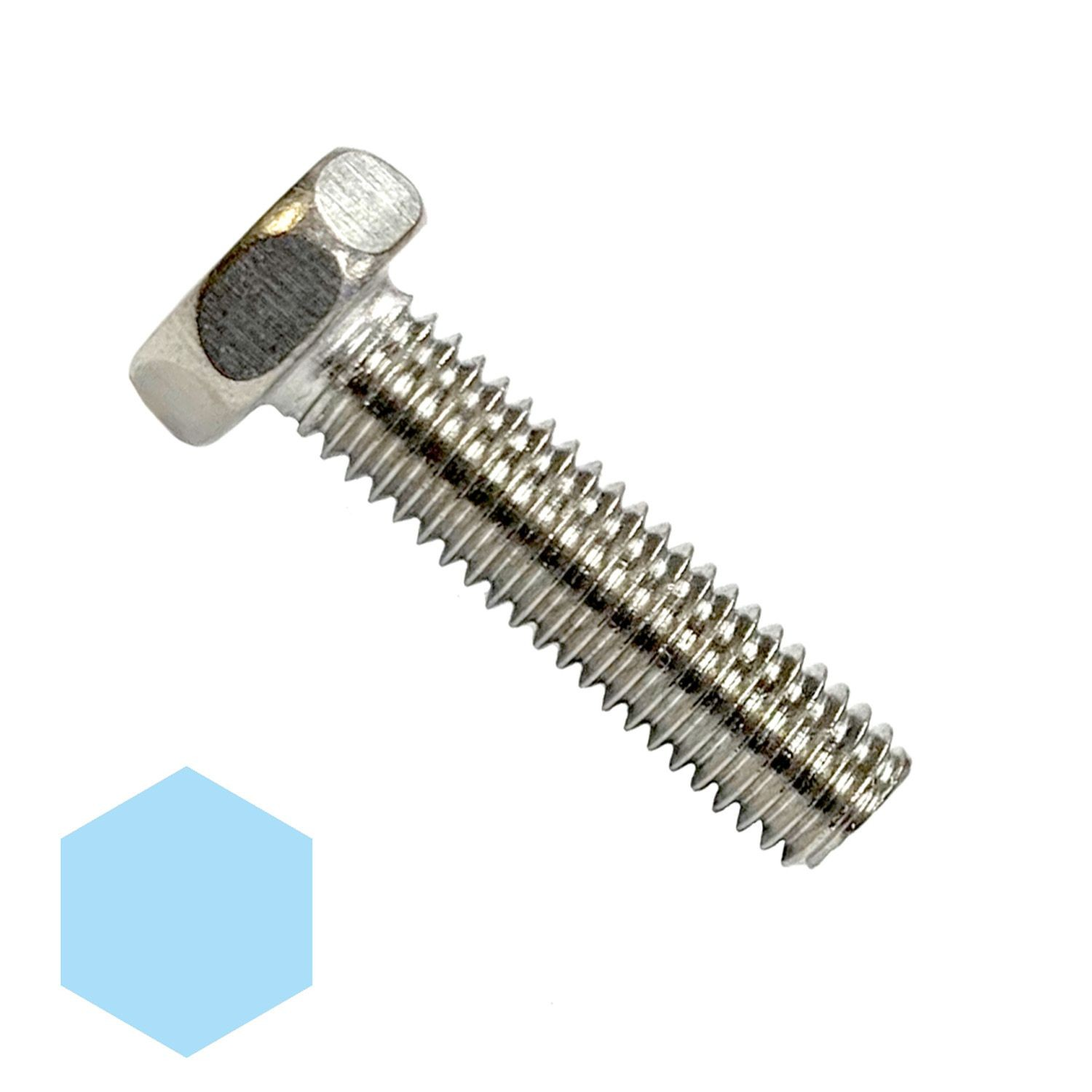 "#10-32 x 1-1/4"" Stainless Steel Hex Head Machine Screw 18-8"