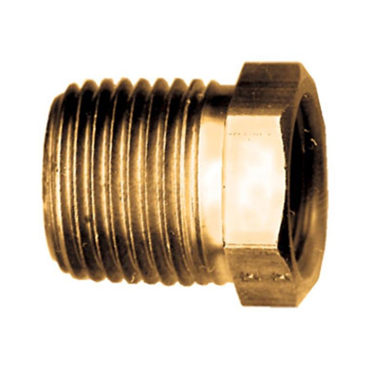 "Brass Hex Bushing 1/2"" Male Pipe Thread x 3/8"" Female Pipe Thread"