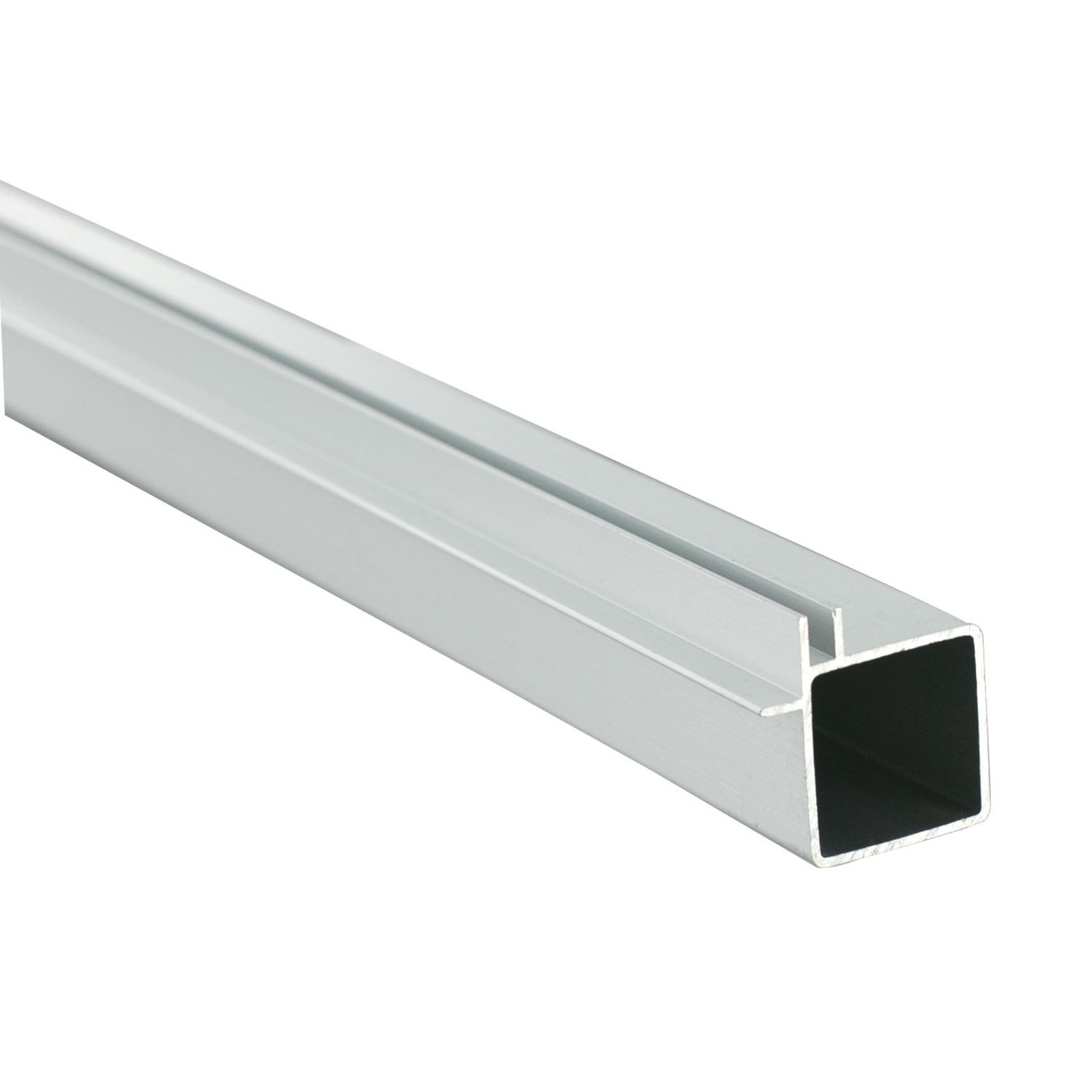 "1"" Square Flange Clear Anodized Single Channel Aluminum Tubing for 1/8"" Panel 8' Length"