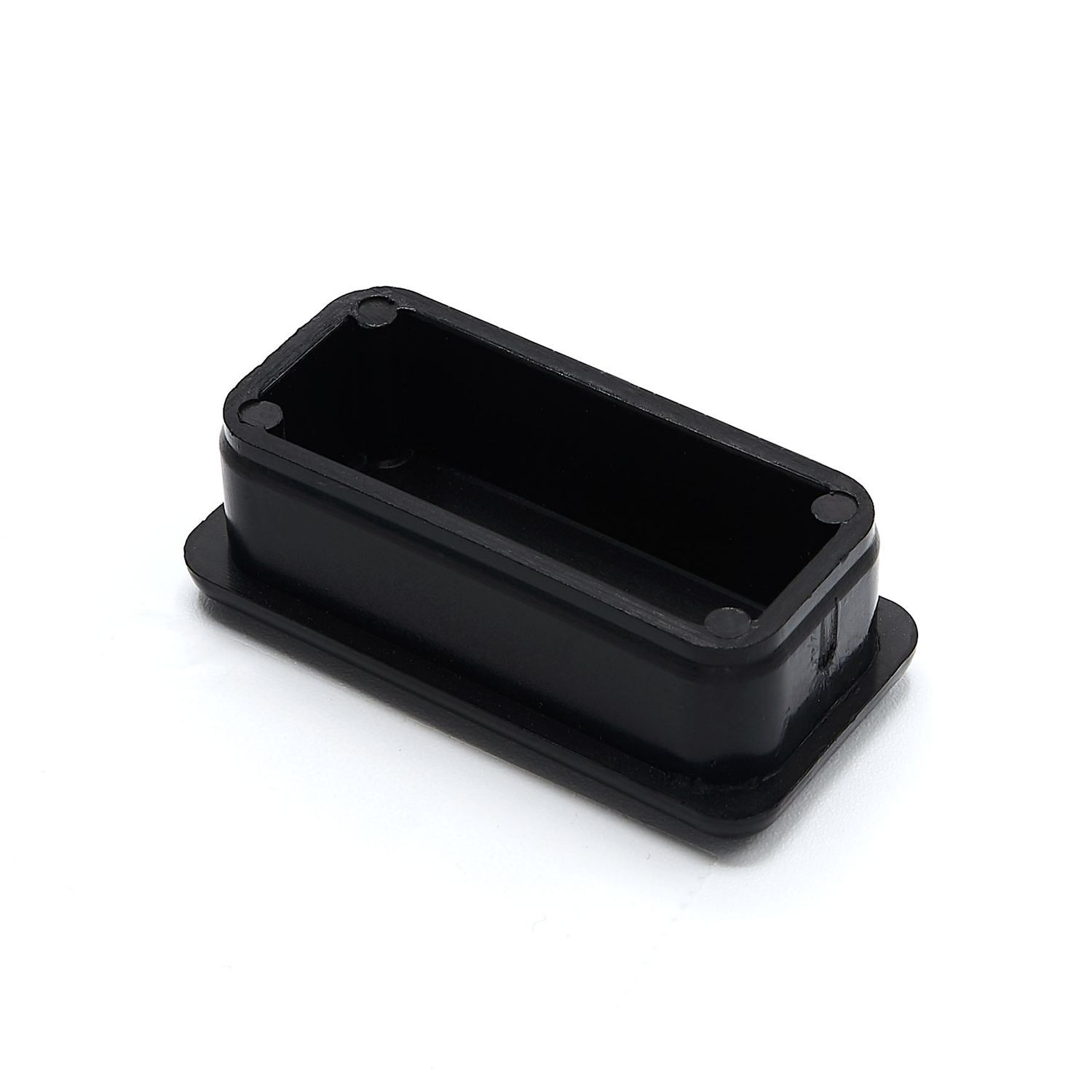 "1"" x 1-1/2"" Rectangular 15 Gauge Black Matte Finish ABS Plastic Inside End Cap for Tubing"
