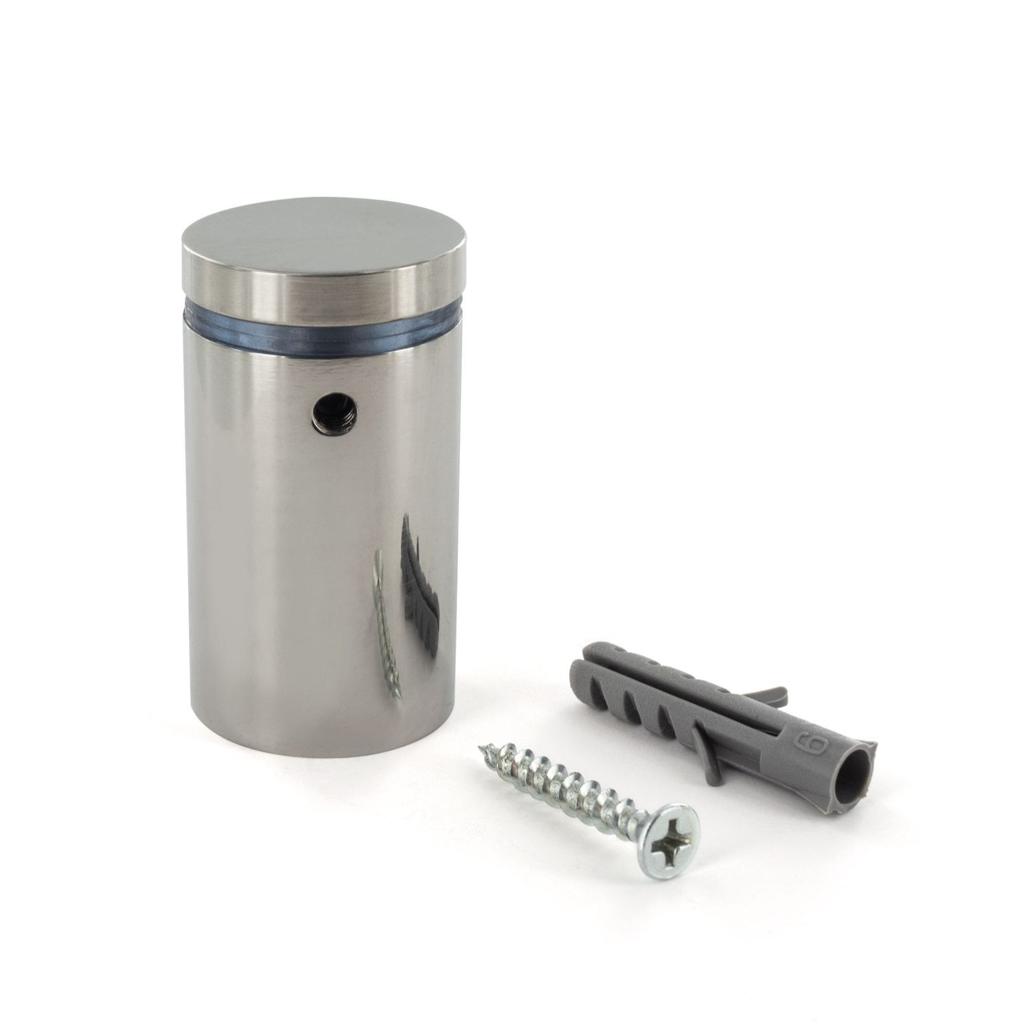 "1"" Diameter x 1-1/2"" Barrel Length Polished Stainless Finish Eco Lock Series Tamper Proof Standoff"