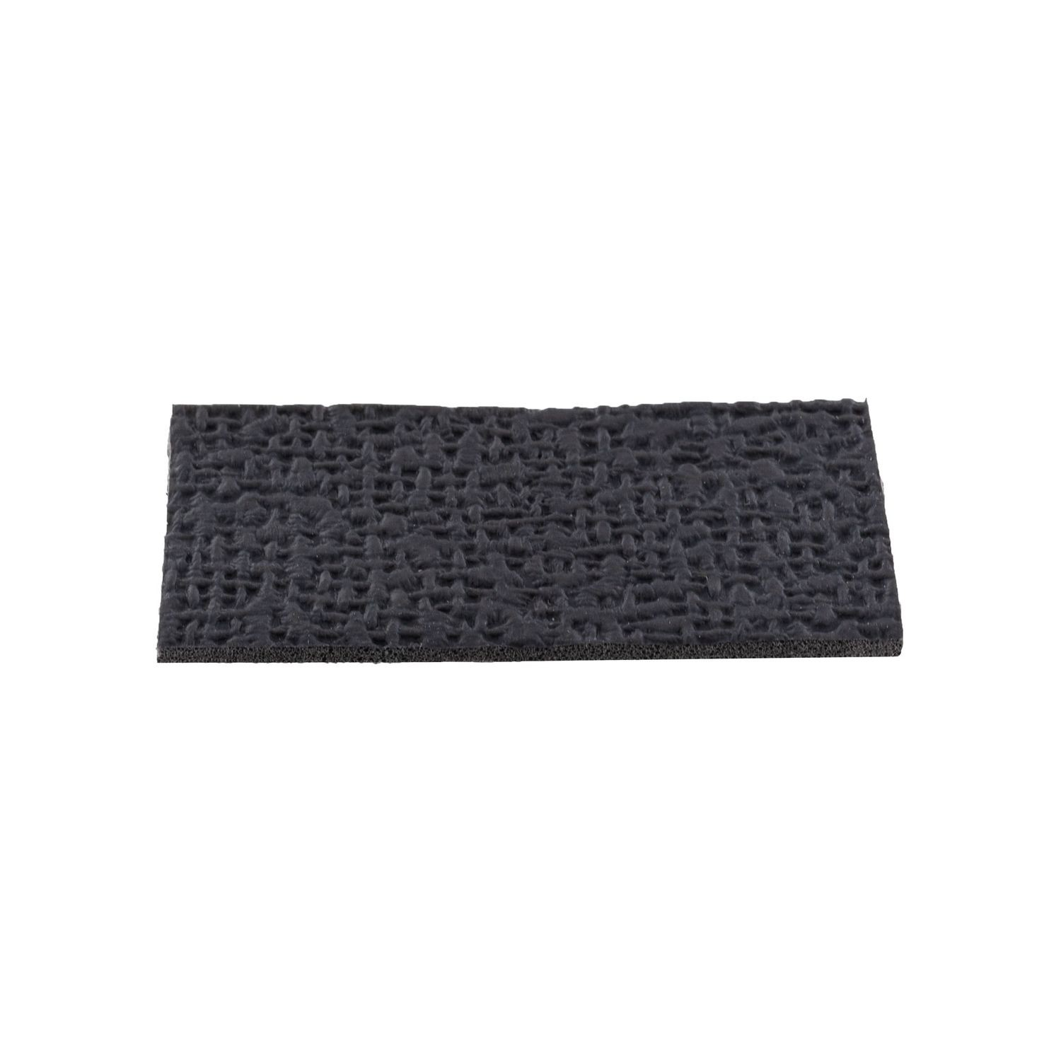 "1"" High x 2"" Wide x 1/16"" Thick Embossed Black Thermoplastic Rubber Square Non-Skid Pad"