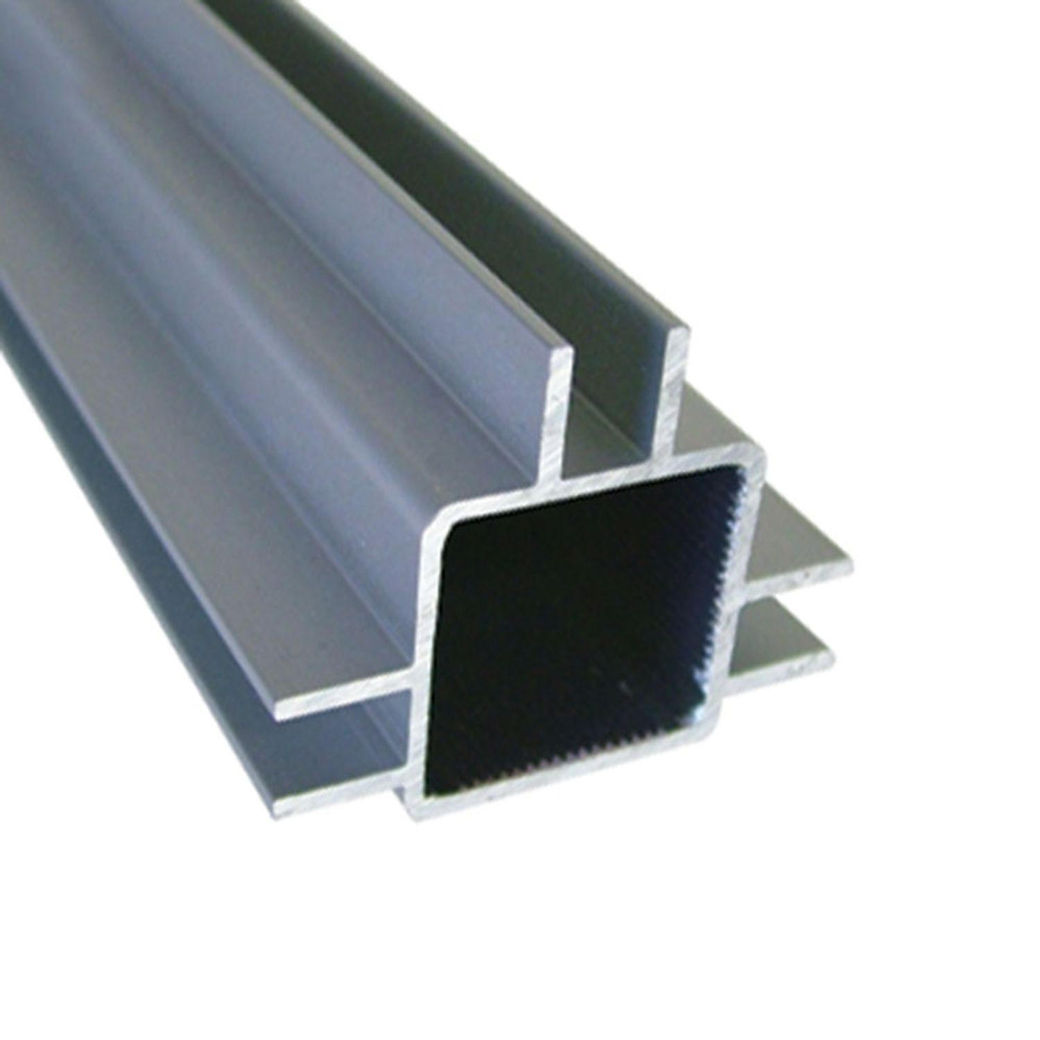 "1"" Square Flange Clear Anodized Triple Channel for 1/4"" Panel Aluminum Tubing 8' Length"