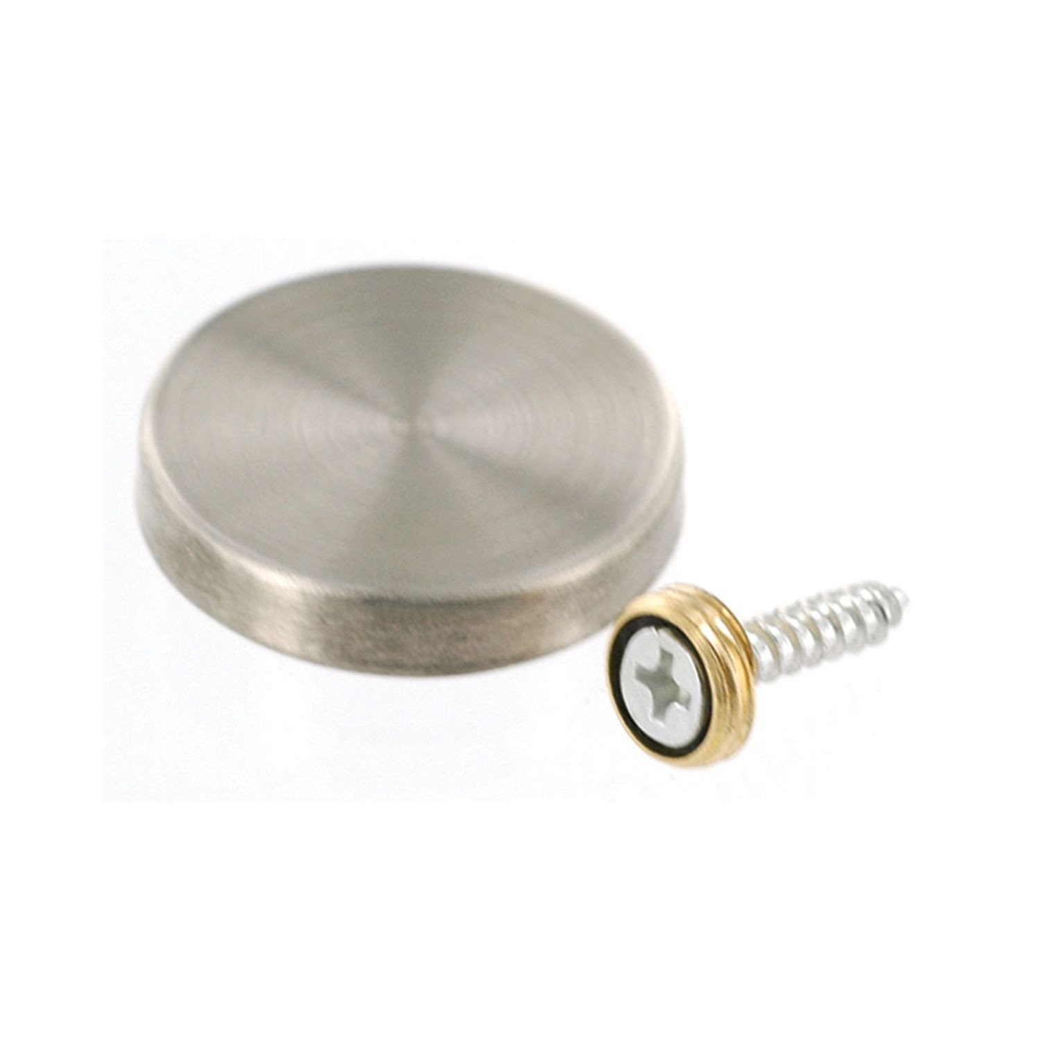 "1"" Diameter x 3/16"" High Brushed Stainless Steel Finish Eco Lite Wall Mount Series Cap It Off Standoff"