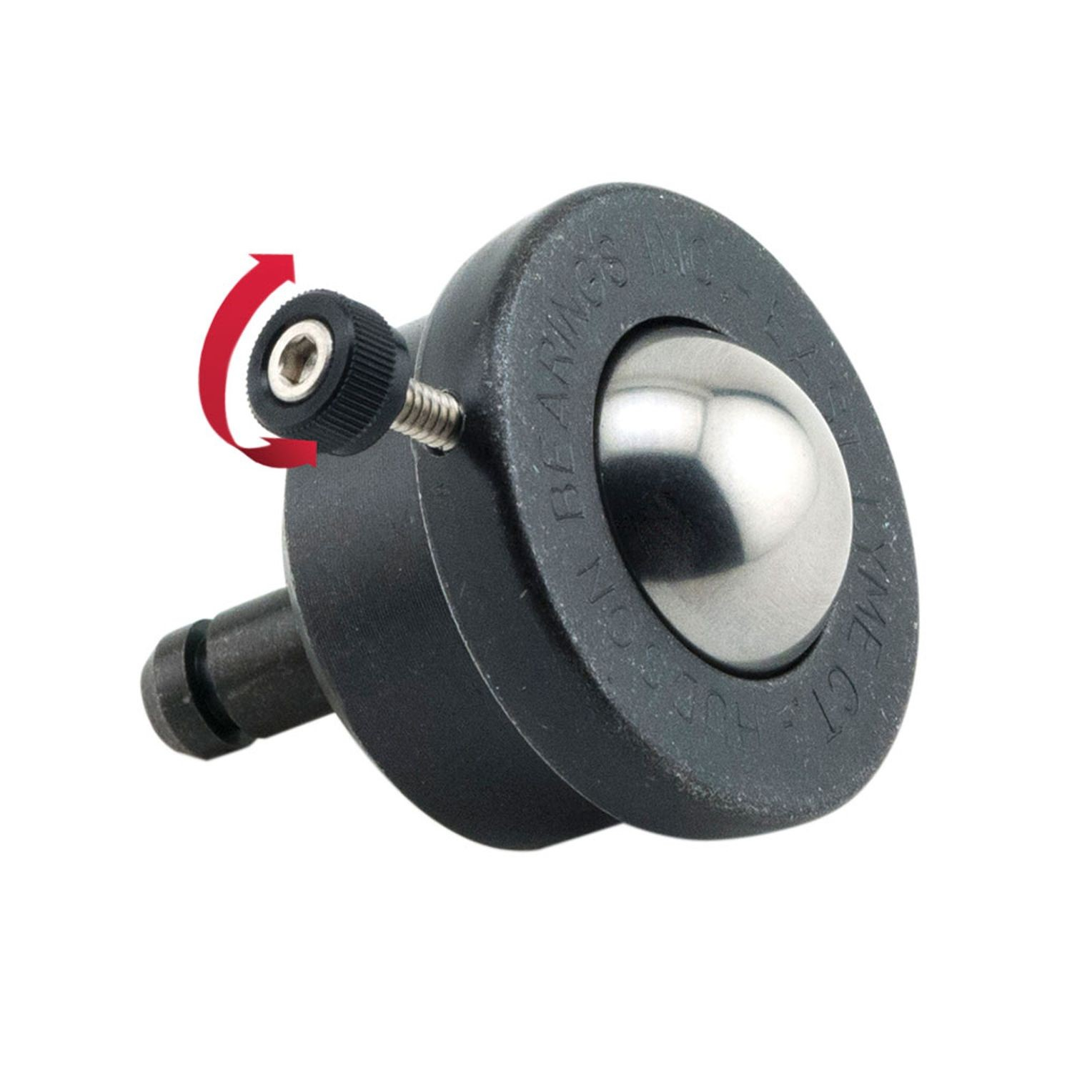 "1"" x 5/16-18 x 1"" Threaded Stem Steel Ball Caster with Brake"