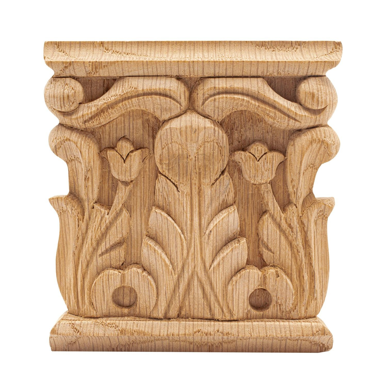 IWW25-L-OAK 24-3//8 x 5-1//4 Red Oak Hand-Carved Ornamental Grape Leaf Hardwood Applique