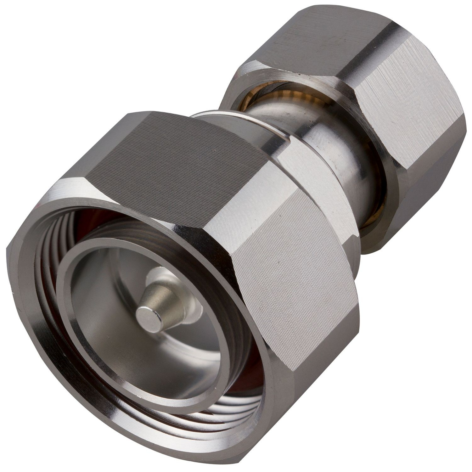 4.3-10 MALE TO 7/16 DIN MALE STRAIGHT LOW PIM ADAPTER, WHITE BRONZE PLATED BODY, SILVER PLATED CONTACT, PTFE DIELECTRIC