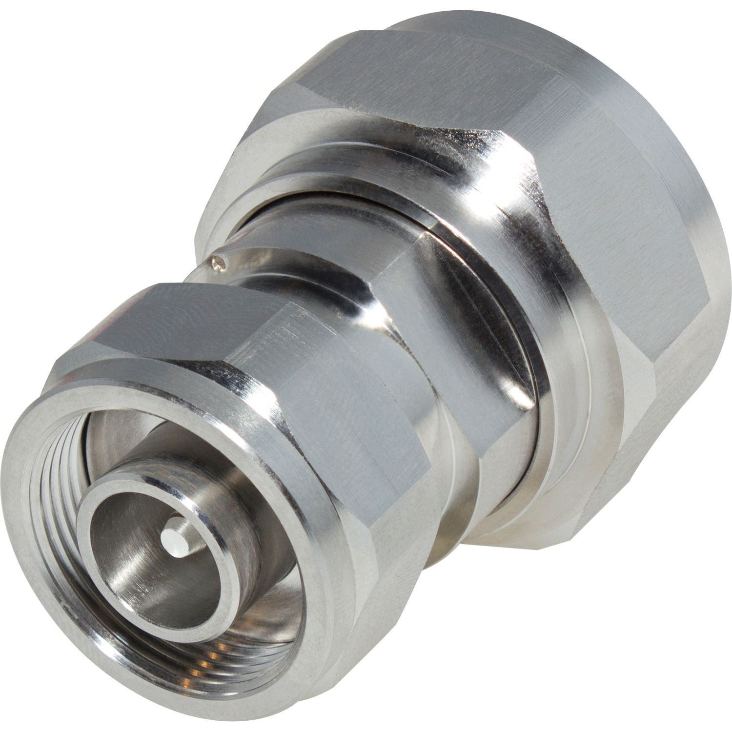 4.1-9.5 MINI DIN MALE TO 7/16 DIN MALE STRAIGHT LOW PIM ADAPTER; WHITE BRONZE PLATED BODY, SILVER PLATED CONTACT, PTFE DIELECTRIC