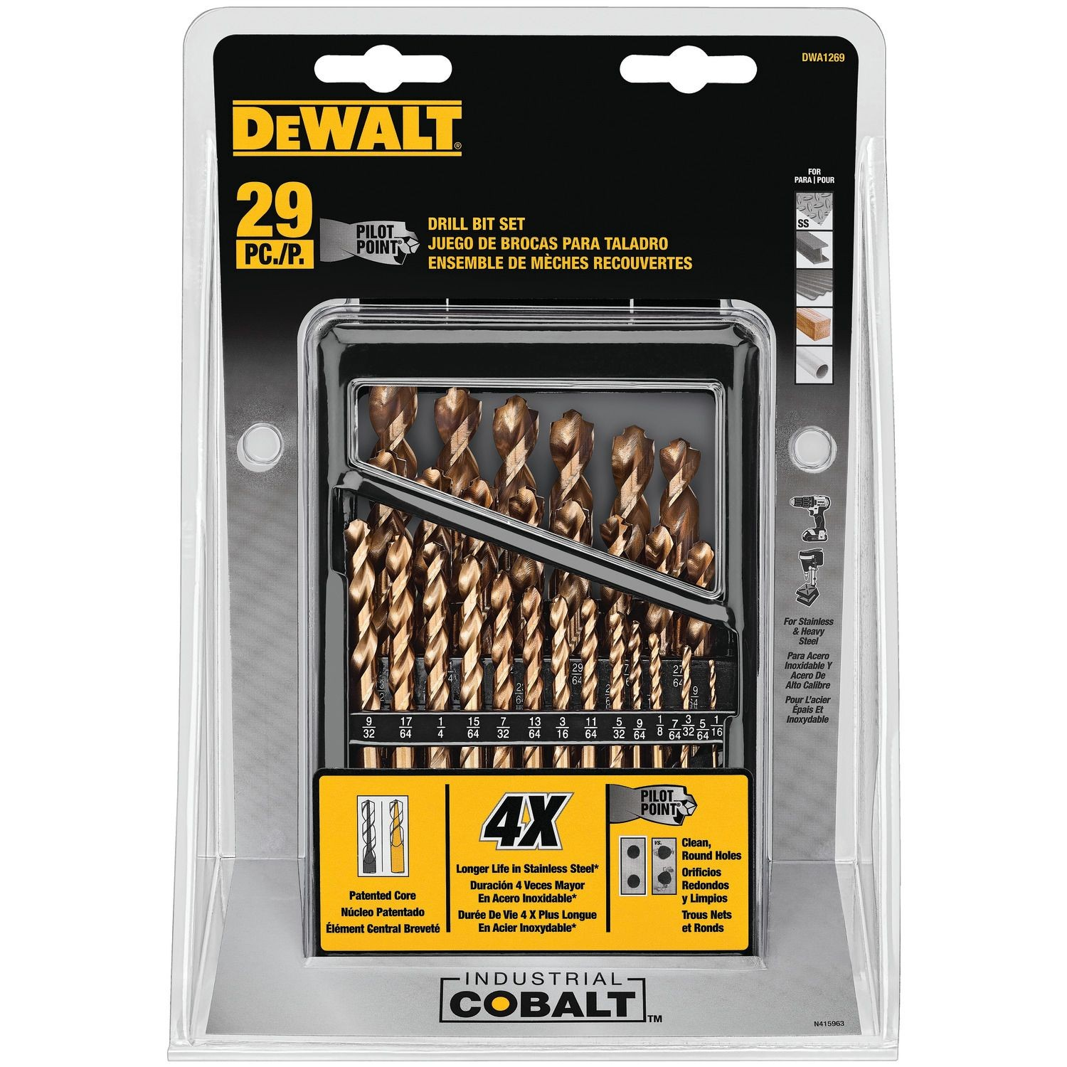 29 PIECE PILOT POINT INDUSTRIAL COBALT DRILL BIT SET