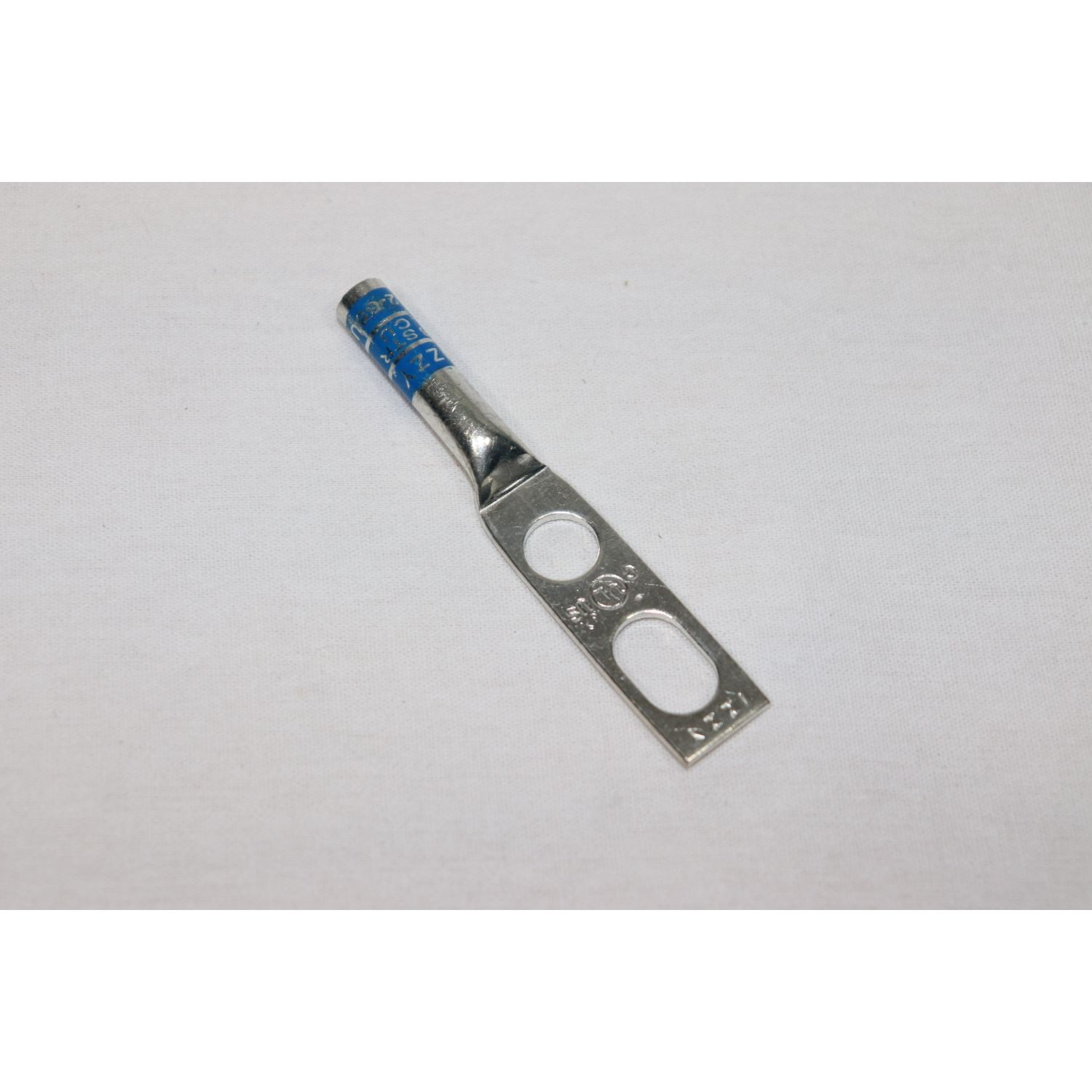"# 6 Stranded – 2 Hole Universal, no window, 3/8"" Stud with 3/4 IN. TO 1 IN. SPACING, Long Barrel Copper Compression Lug, Blue"