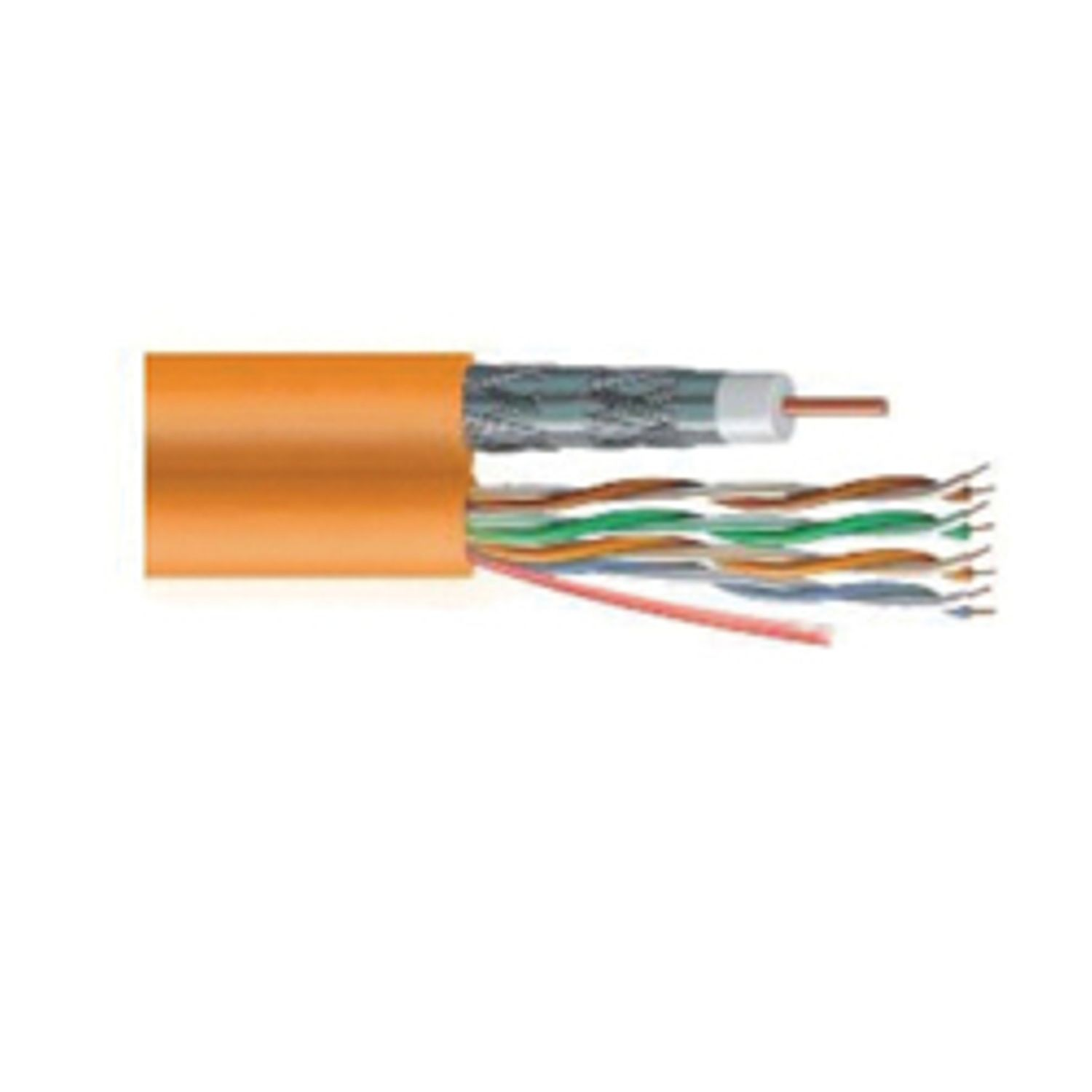 Commscope Ultrahome 6 Cat 5e Cmg Cmr Quad Shielded Coaxial Cable Copper Electrical Wire Bare Solid And 4 Pair 24 To 18 Awg Conductor Orange Jacket