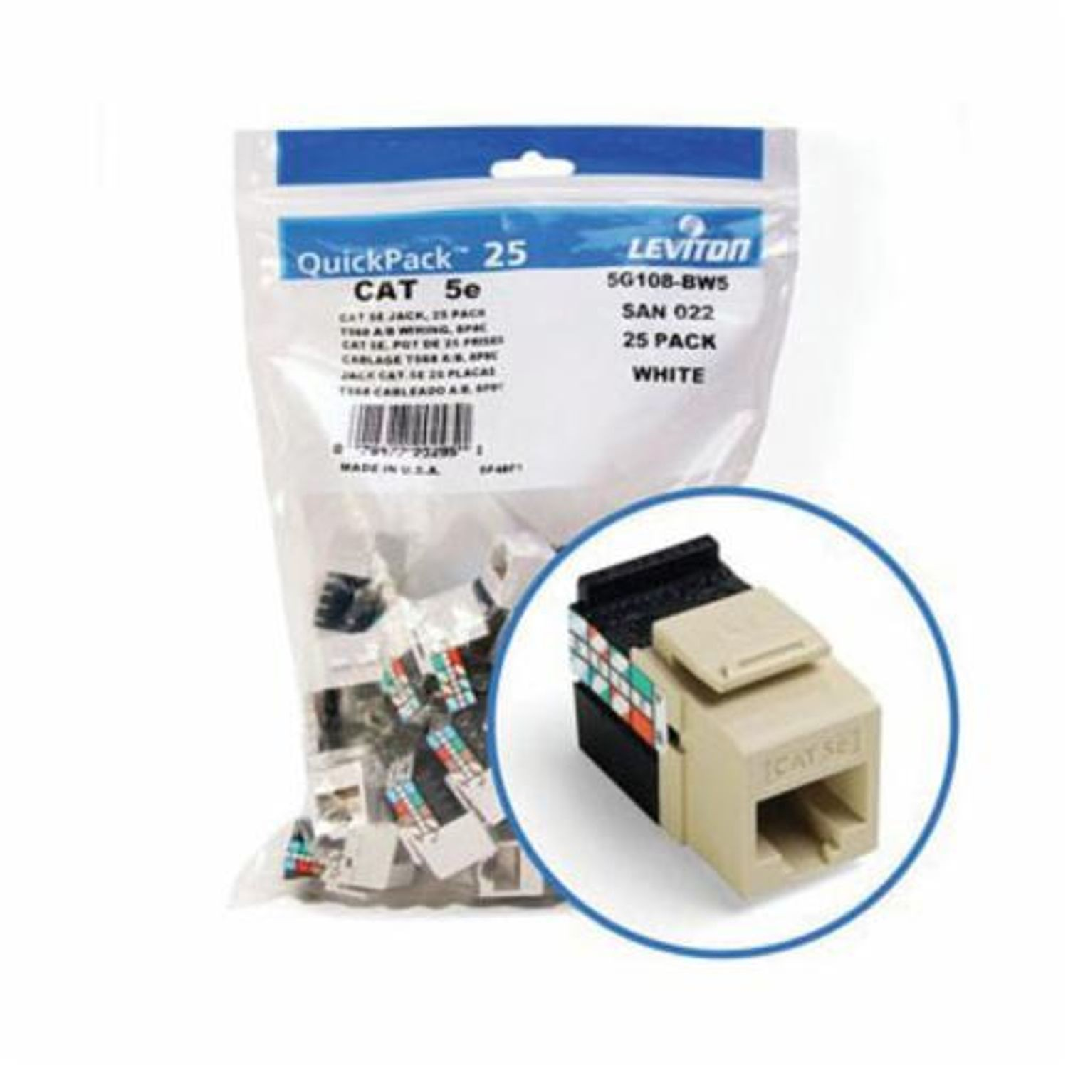 Quickport Gigamax 5g108 Bi5 Connector Cat5e Module Wiring Also Electrical Circuit Breaker Panel Box Together With Leviton Mount 1 Port Plastic Ivory