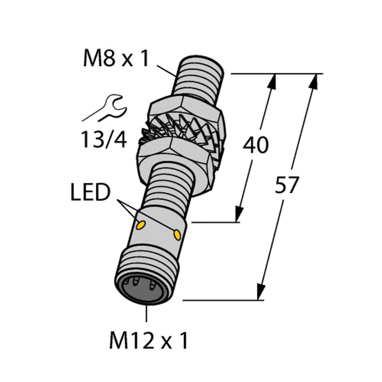 Turck BI2-EG08-AP6X-H1341 Inductive Sensor, 3-Wire DC PNP Output, NO, 10 to  30 VDC