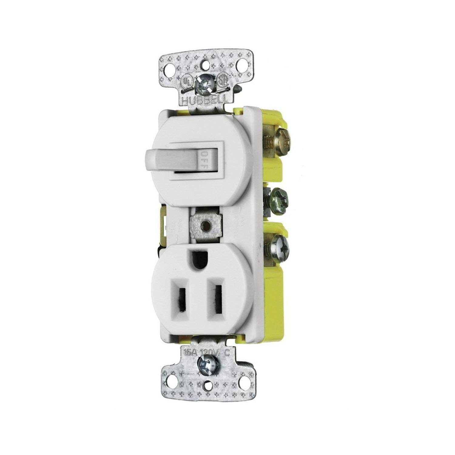 Wiring Device Kellems Tradeselect Traditional Tamper Resistant A Switched Receptacle Combination Switch And 15 At 120 125 Vac