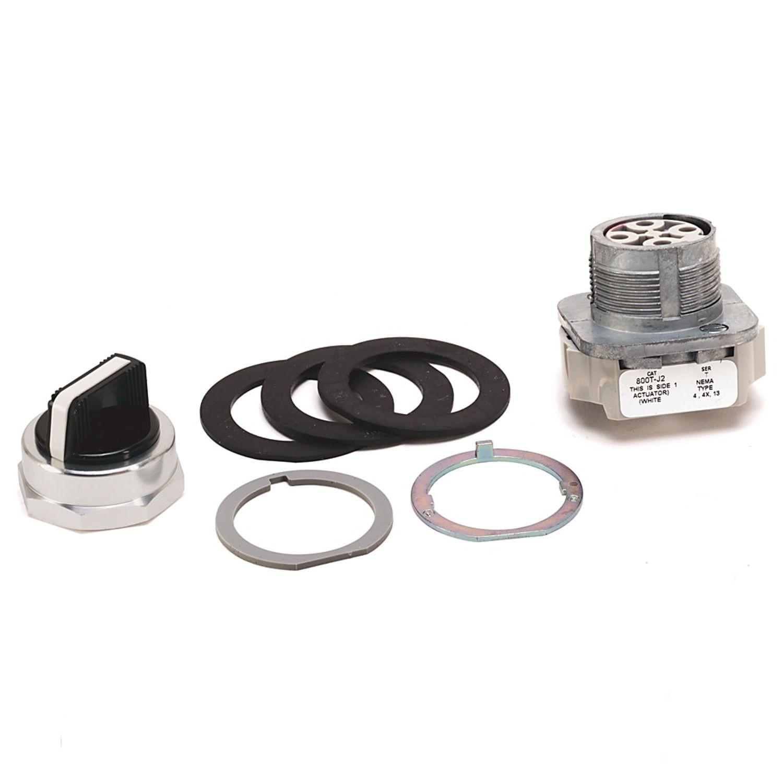 Allen-Bradley 800T-J5KE7 800H PB, 30mm Push-Pull Device, Twist Release,  2-Position, Standard Mushroom Head, 12-130V AC/DC, Red, 1-NO 1-NC Standard