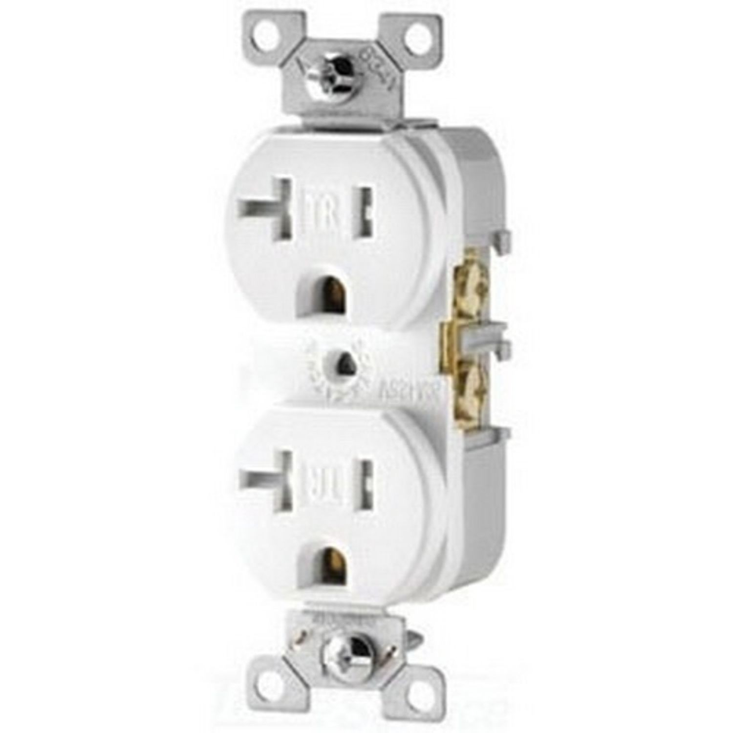 Cooper Wiring Arrow Hart Trcr20w Straight Blade Duplex Receptacle 125 Vac 20 A 2 Poles 3 Wires White